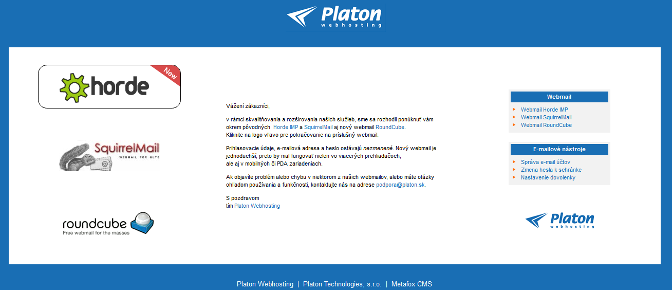 Platon Webhosting: How to Use Horde Webmail